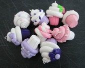Polymer Clay  Pastel Cupcake Charms, Pastel Cupcake Charms, Jewelry Supply