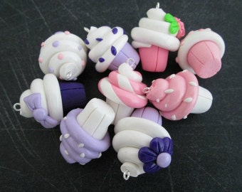 Pink & Purple Polymer Clay Cupcake Charms
