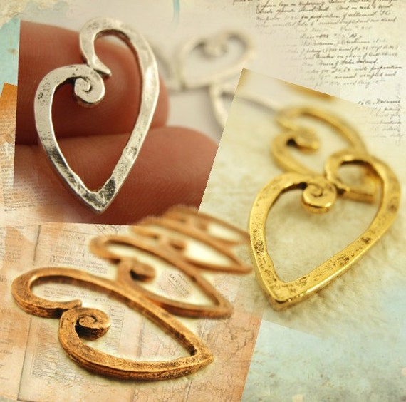 3 Textured Heart Charms  - 23mm X 13mm - You PICK Antique Silver, Antique Copper or Antique Gold