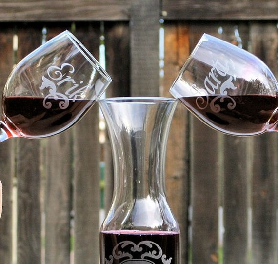 Wine Wedding: Wedding Ceremony Wine Unity Set 2Wine Glasses & 1 By