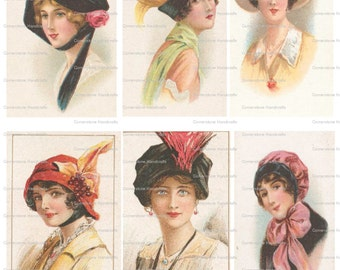 Collage Sheet Vintage Hats 104 Instant Digital Download