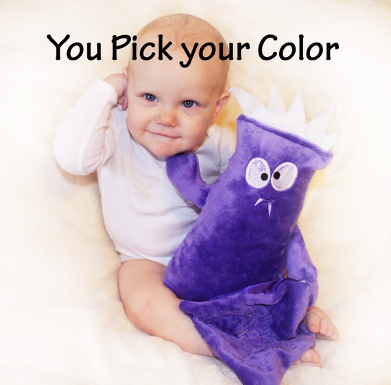 Monster Buddy, Baby Toy, Plush monster, Stuffed animal with Baby blanket  - Pick your Color - Free Personalization with name