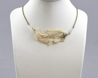 SALE!! Embellished vintage lace necklace