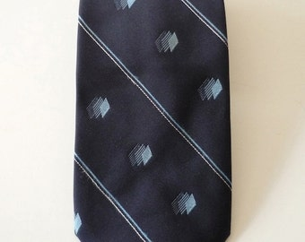 Vintage Neckties Men's 80's Givenchy, Silk, Navy Blue, Diamond, Striped, Neckwear