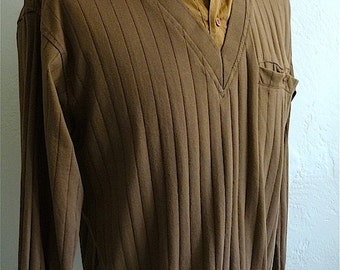 Vintage Men's 80's Shirt, Brown, Pull Over, Long Sleeve by Haband (L)