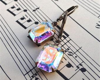 Vintage Glam Octagon Rhinestone Earrings Crystal Aurora Borealis Holiday Wedding