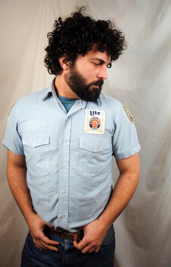 Vintage Beer Patch Button Up Shirt Miller Lite High Life