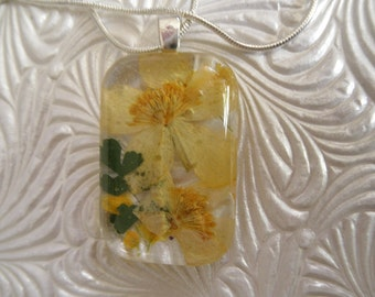 Blazing Star, Basket of Gold Alyssum, Ferns Pressed Flower Glass Rectangle Pendant-Gifts 25 & Under-Nature's Art-Symbolizes Bliss, Happiness