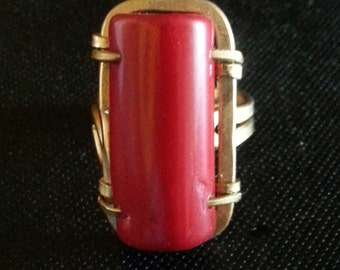 Rectangular Coral Ring