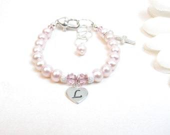 Baptism Bracelet // Christening Bracelet // Baby Bracelet // Baby Girl Bracelet // Little Girl Bracelet // Child's Cross Bracelet // Pink