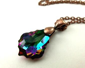 Copper Necklace Dark Rainbow Necklace Crystal Pendant Multi Colored Copper Jewelry