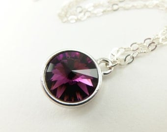 Amethyst Crystal Necklace February Birthstone Sterling Silver Necklace Amethyst Pendant Amethyst Birthstone Pendant