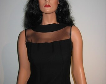 SEXY 1960's, Sheer top Evening Gown, Cocktail Dress. Vintage Black, Bombshell, wiggle, Rockabilly,  Hollywood Glamour.