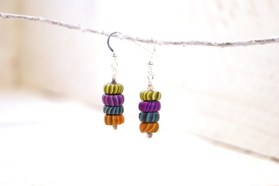Bright Colorful Modern Art Jewelry Earrings- Polymer Clay Gypsy Trade Beads and Sterling Silver