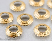 Large Hole Scalloped Bead Caps, Light Bright Finish, Brass Metal, BHB