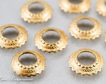 Large Hole Scalloped Bead Caps, Light Bright Finish, Brass Metal, BHB