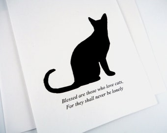 Blank Cat Note Card, Kitty Note Card,  Black Cat Silhouette Card, Black & White, Blessed are those who love cats, cat card for friend
