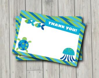 Under the Sea Thank You Note - Ocean Thank You Card - Digital Printable Thank You - Ocean Theme