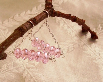 Sparkle Pink Faceted Glass Crystal Rondelles Dangle Sterling Silver Earrings