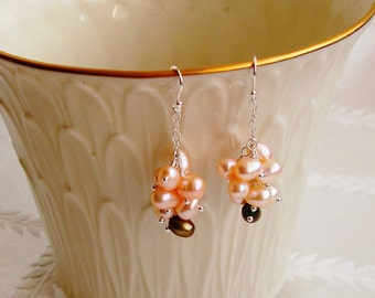 Wire Wrapped Rice Peach and Green Fresh Water Pearl Cluster Dangle Sterling Silver Earrings