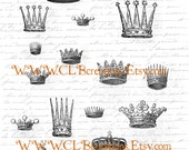 Antique Royal Fairy Crowns Digital Image Sheet for Scrapbooking Altered Art Art Journal or Image Transfer