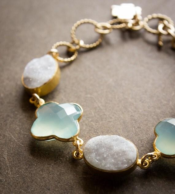 Gold White Druzy and Aqua Chalcedony Clover Charm Bracelet - Toggle Clasp - Four Leaf Clover
