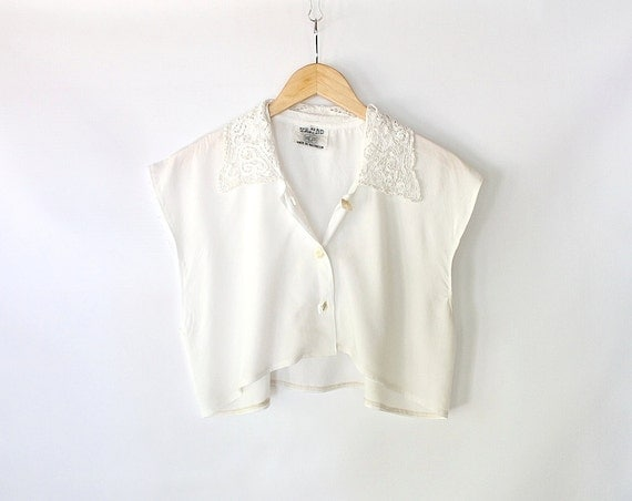 Vintage 80s white cropped top with beaded lace collar loose for Cropped white collared shirt