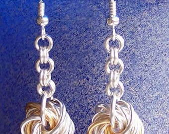 Love knot eternity Chainmaille earrings. Silver plated or gold plated with accents