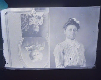 Victorian Woman and Children Multiple Photos Antique Photograph Glass Plate Photo Negative Instant Ancestor
