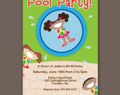 Girl's Birthday Pool Party Invitation -  African American