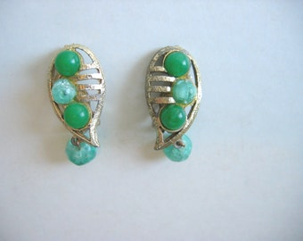 Vintage 1960's, Mod Flower Power Clip on Earrings. Gold and Green.