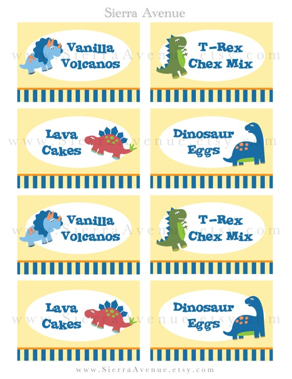 ... Party Food Labels or Place Cards - Personalized Printable Digital File: https://www.etsy.com/listing/130189701/dinosaur-themed-party-food...