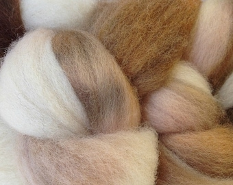 Wool Roving Hand Dyed in Rootbeer Float White Brown