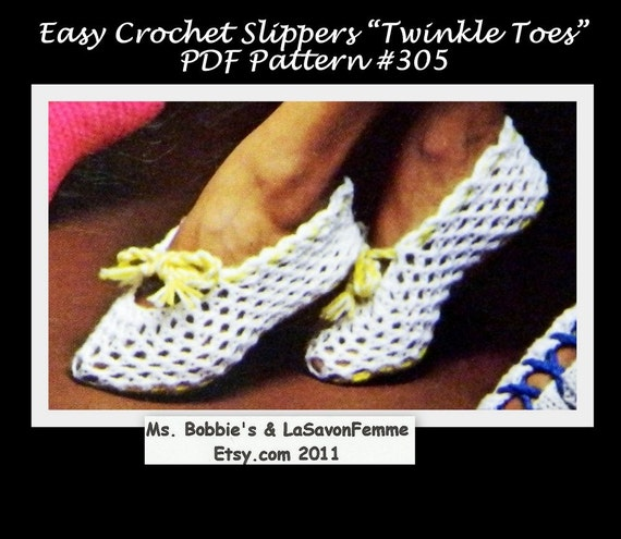 Crochet Stitches Stretch : Crochet Slippers Pattern - PDF 305 - Stretch Slippers - Save With ...