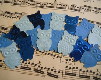 Blues Paper Owls  50 pc   Baby Shower Confetti     Reception   Table Decorations