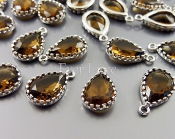 2 smoky quartz 12mm glass charms with silver frame / glass beads for diy jewelry 5049R-SQ-12 (bright silver, smoky quartz, 12mm, 2 pieces)