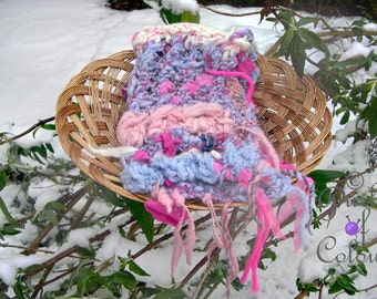 Unique hand knitted scarf with handspun yarn, beads, buttons and ribbons: Candy Shoppe