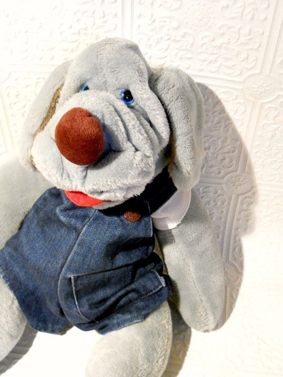 Wrinkles Plush Dog 18 Puppet With Jean Overalls By Retrorevolution