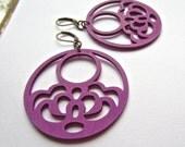 Wood Earrings- colorful earrings, bold color, bright earrings,yoga earrings, purple eggplant earrings - light weight earrings