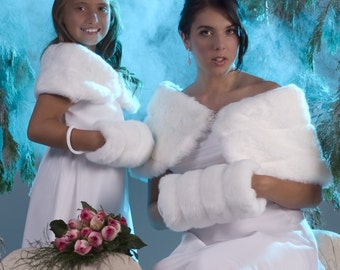 Bride & Flower Girl Custom Faux Fur Wrap and Muff sets Winter wedding shawls shrugs Available in a variety of faux furs choices