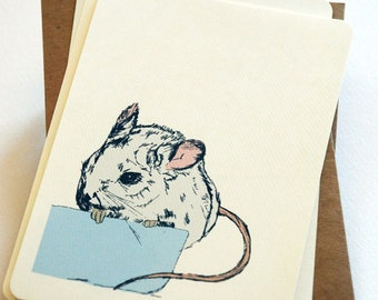 The Little Field Mouse Notecard Set in Blue, Gray and Cream -Set of 6 flat Notecards and Kraft Envelopes