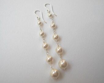 Long Pearl Earrings - Graduated Swarovski Pearl Earrings in Sterling Silver Bridal Earrings Bridesmaids Wedding Party Maid of Honor Gift