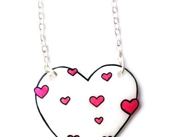 White Heart Necklace with Little Bright Pink Hearts- Valentine's - Love