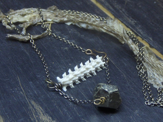 FOOL'S ADDER - Black Mamba. Snake Vertebrae and Pyrite Necklace. Gothic weird Taxidermy Statement necklace talisman Unique Christmas Gift ~