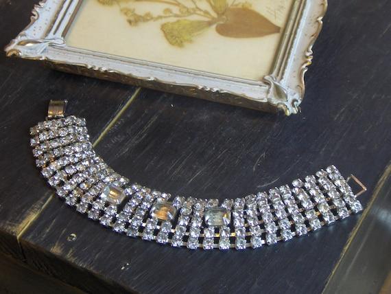 MISS DAISY. Vintage Rhinestone Wide Band Bracelet