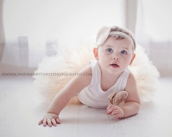 Baby Girls Birthday Tutu Dress Outfit, Champagne Tresor Flower Tutu Dress
