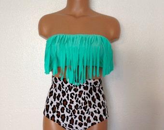 Seashore retro fringe swimsuit