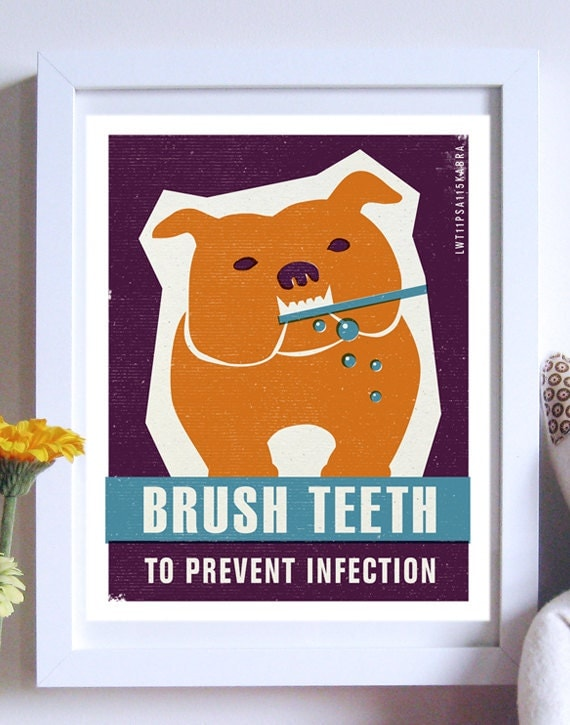 Brush Dogs Teeth - Ink and Sword Pet Care Poster- Typography Art Print