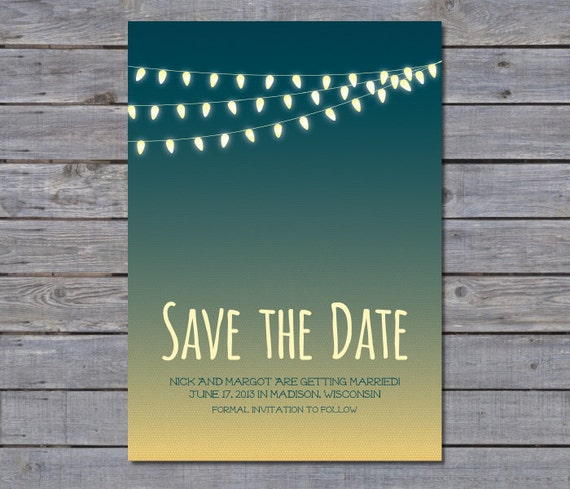 Items similar to Outdoor String Lights Summer Inspired Save the Date on Etsy