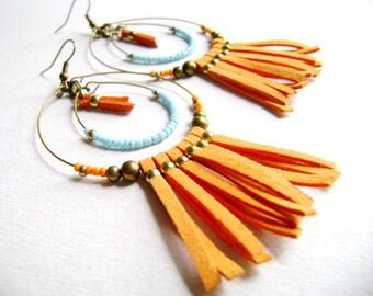 Bohemian earrings - Vibrant - bright orange faux suede leather turquoise golden beads boho chic fringe long earrings-